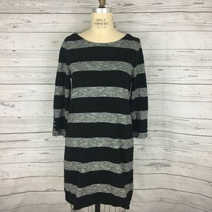J. Crew heather gray black striped shift dress